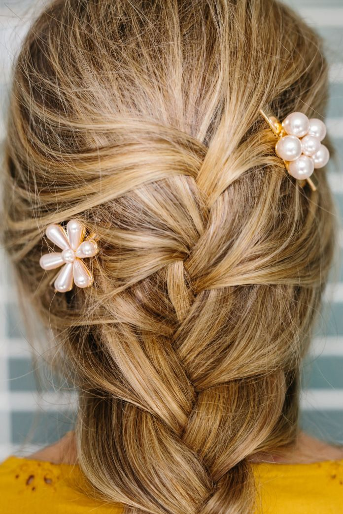 Close up of the pins in the french braid