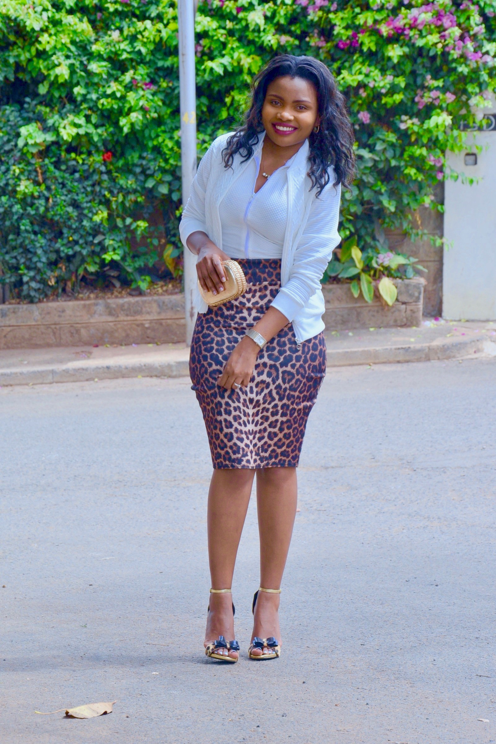WHITE BOMBER JACKET & ANIMAL PRINT SKIRT