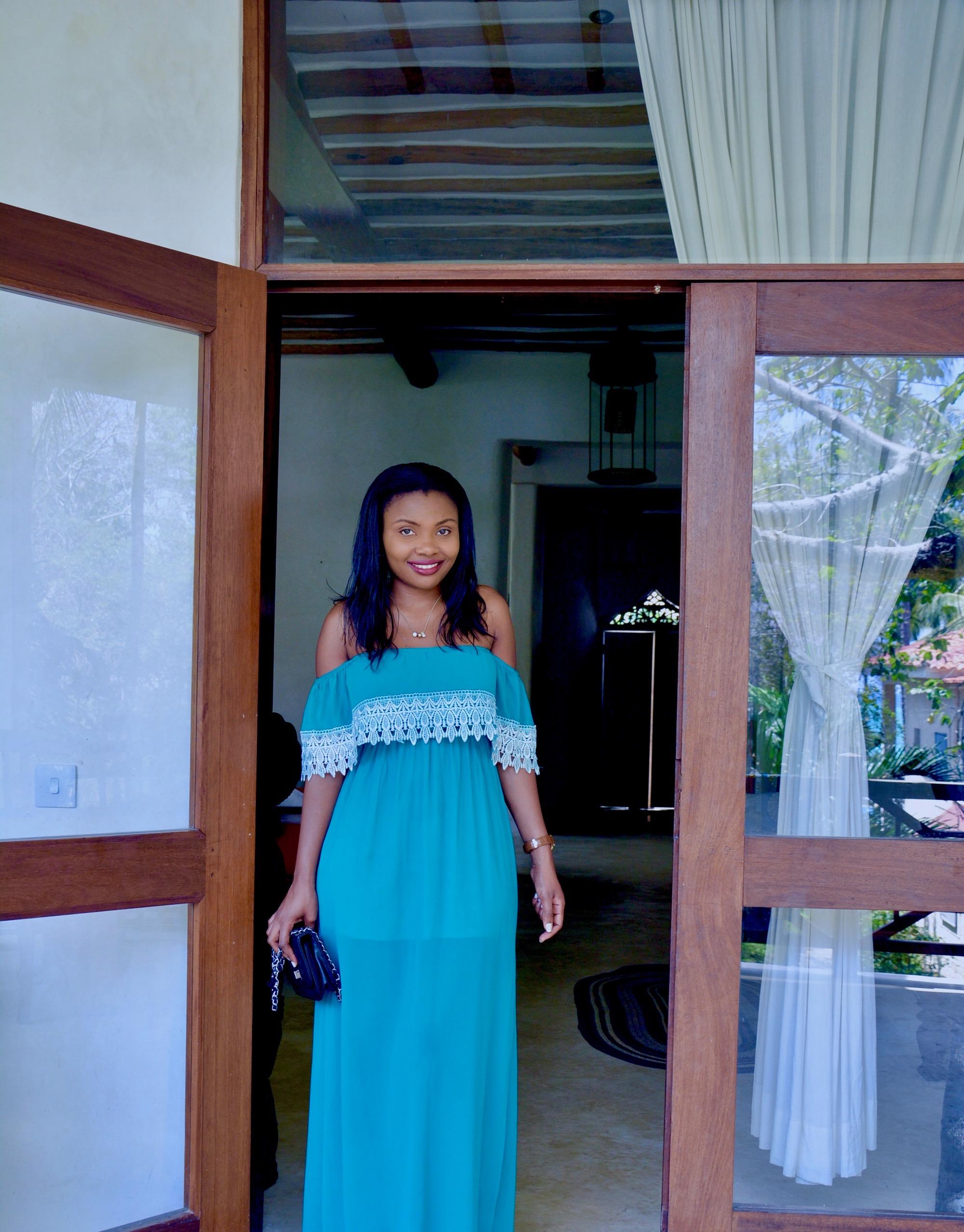 Turquoise Off Shouder Dress 3