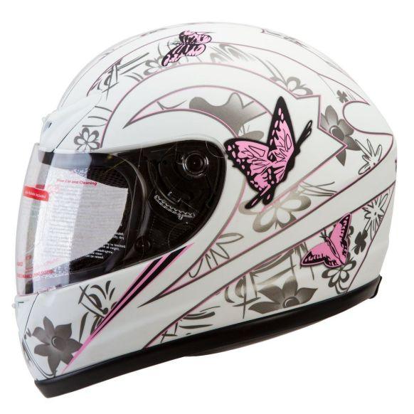MATTE WHITE PINK BUTTERFLY Full Face helmet