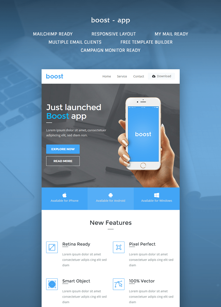 Boost App Promotional Email Template Buy Premium Boost App Promotional Email Template