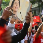 2021,february,1,bangkok,thailand,nld,Supporters,In,Bangkok,Are,Protesting,Outside,Myanmar,Embassy,Against