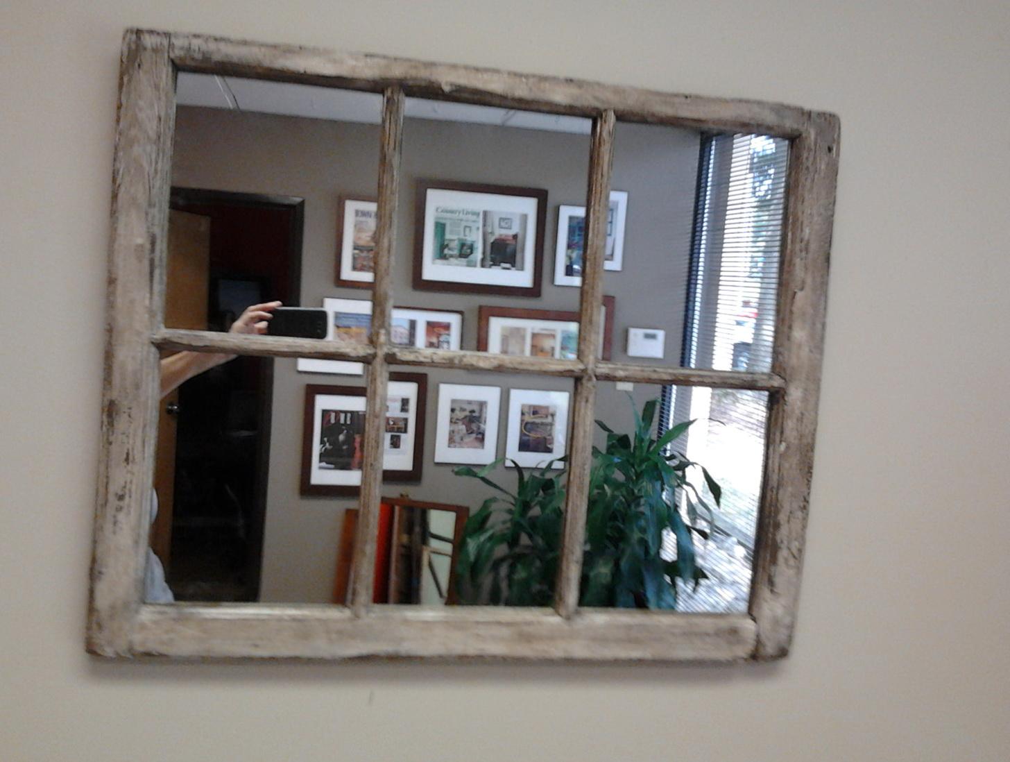 Distressed Window Pane Mirror