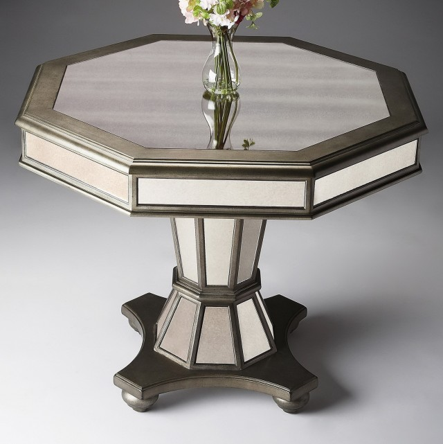 Mirrored Round Accent Table
