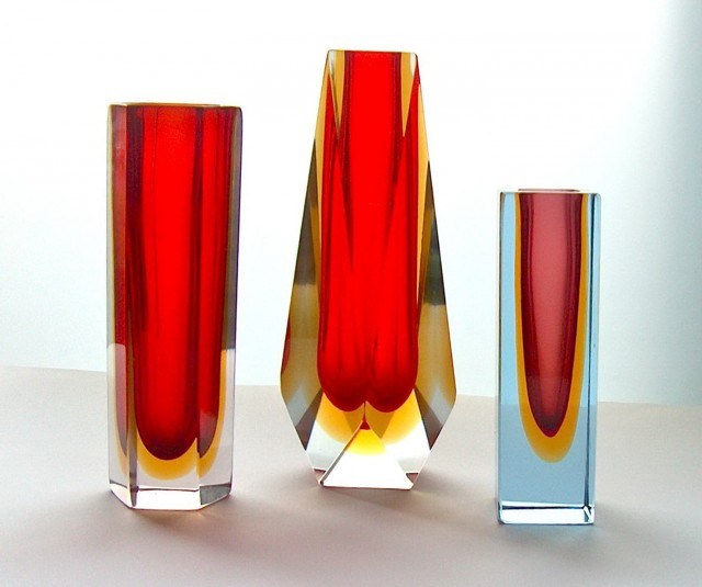 Red Murano Glass Vase