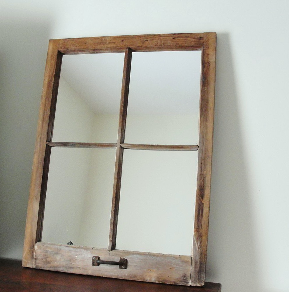 Rustic Window Pane Mirror