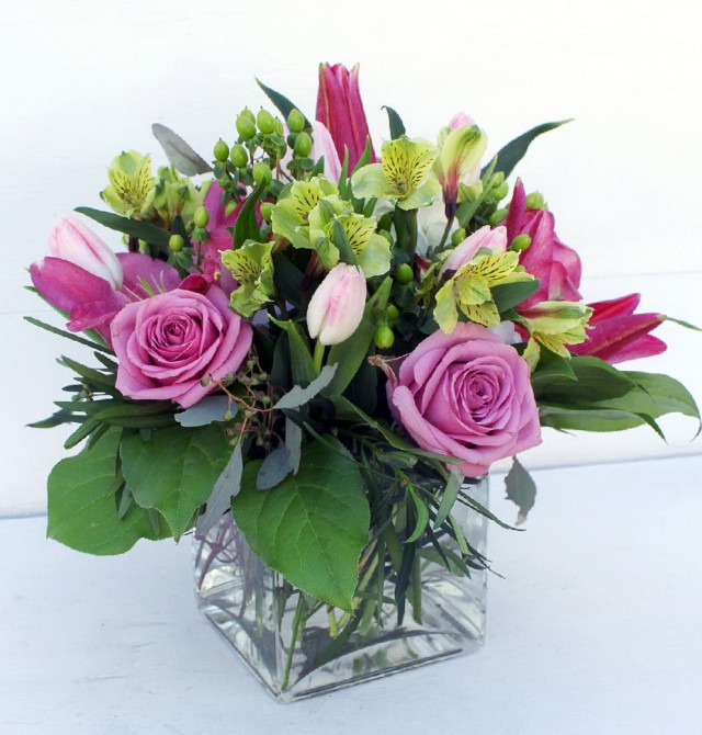 Square Glass Vase Flower Arrangement