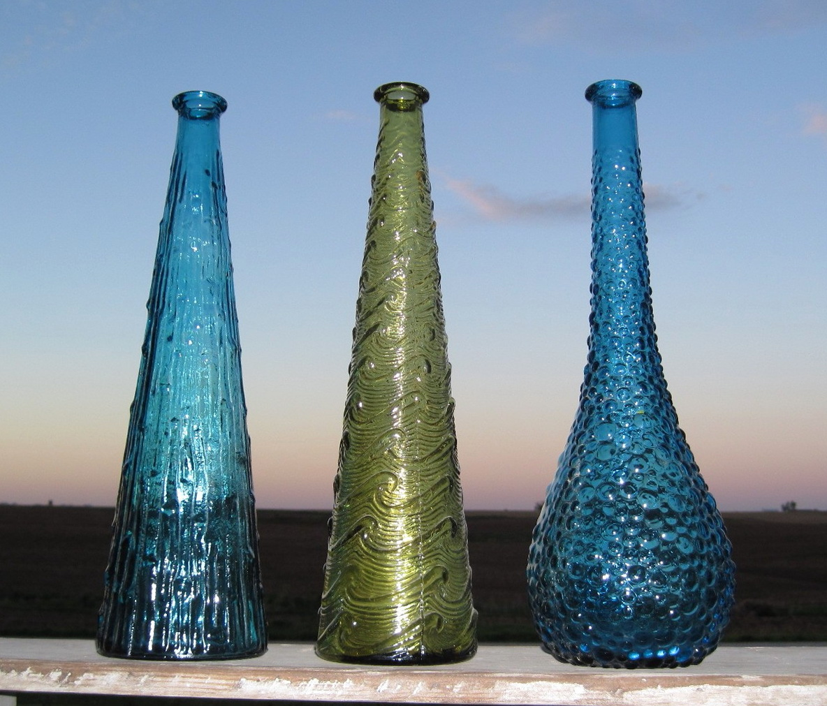 Vintage Colored Glass Vases