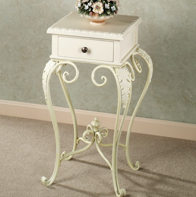 White Accent Table With Drawers
