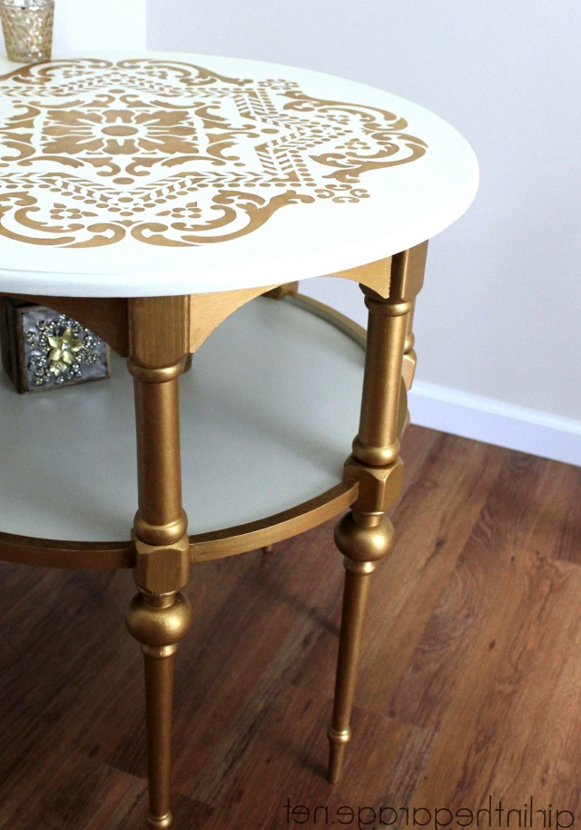 White And Gold Side Table