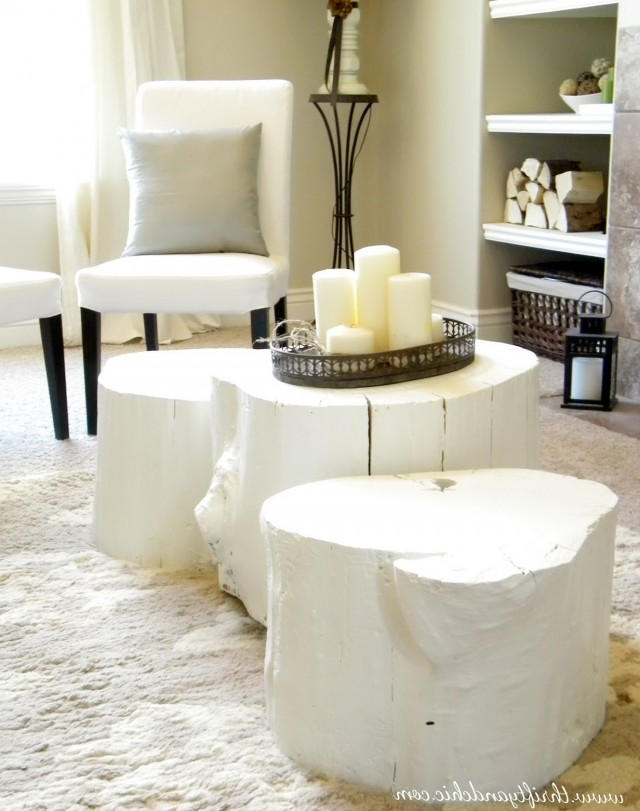 White Tree Stump Side Table