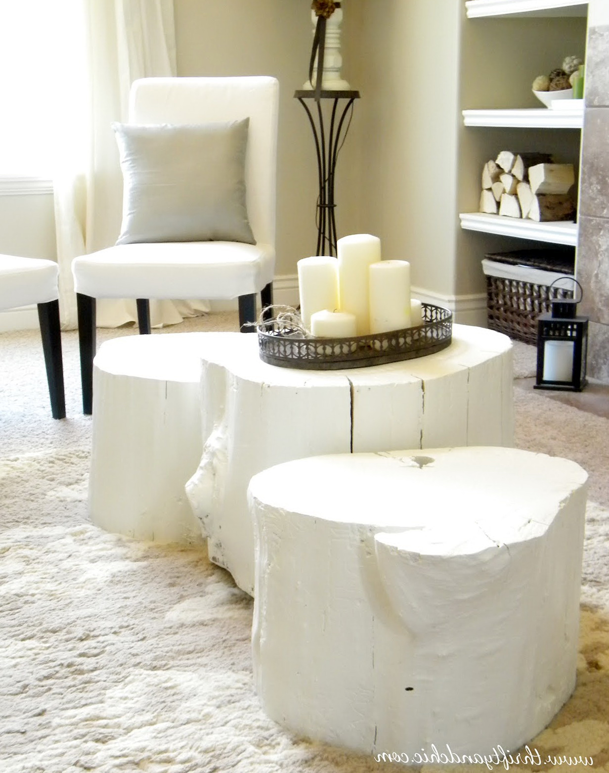 White Tree Stump Side Table