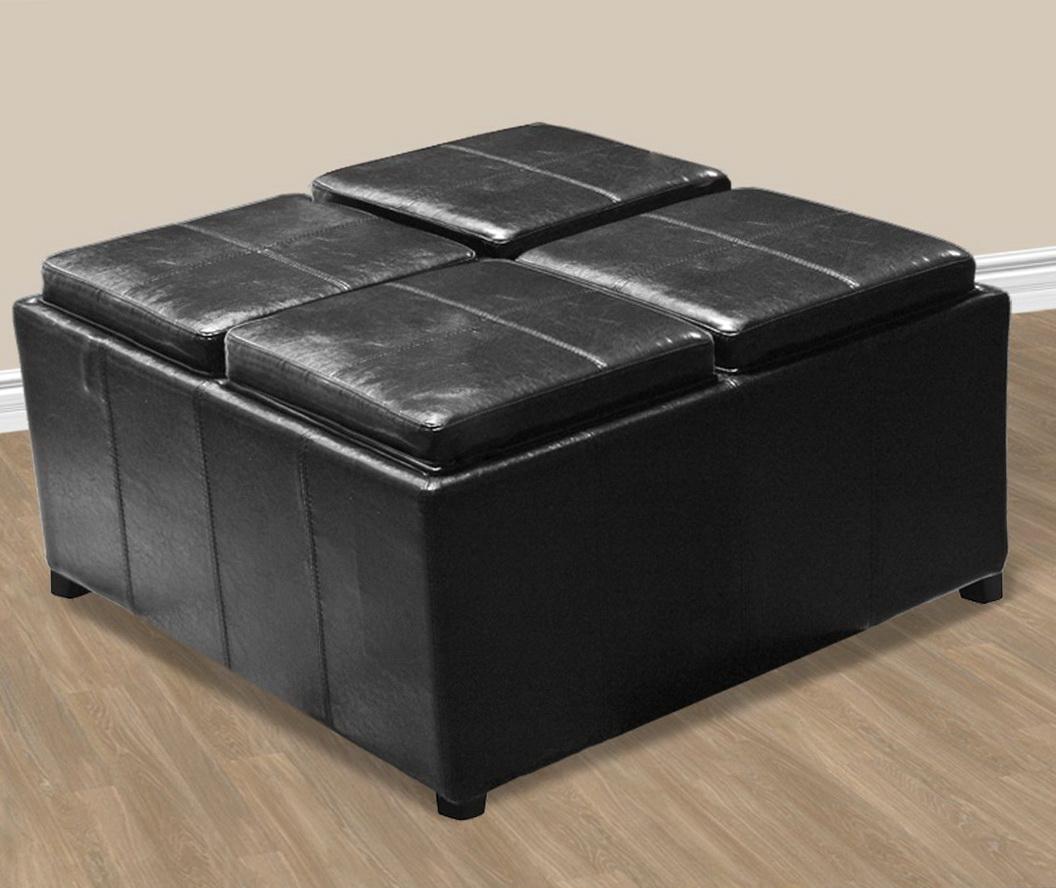 Black Leather Ottoman Coffee Table