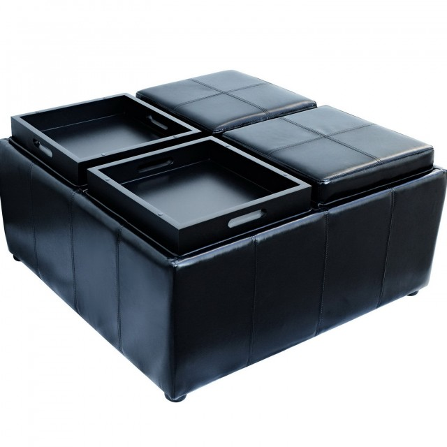 Black Leather Storage Ottoman With Tray