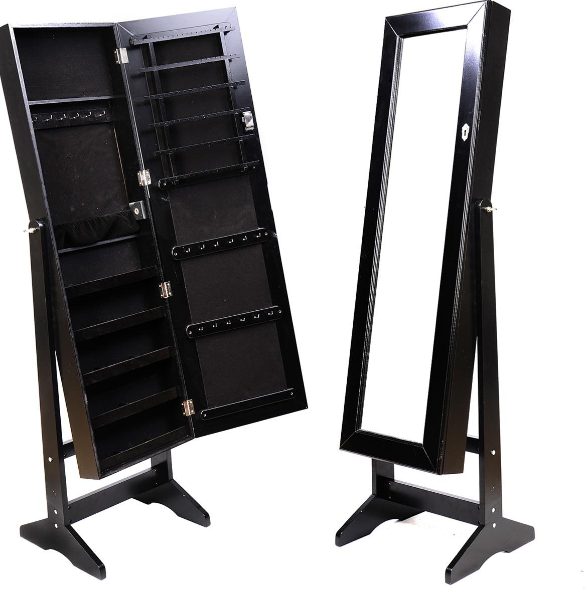 Black Standing Mirror Jewelry Armoire