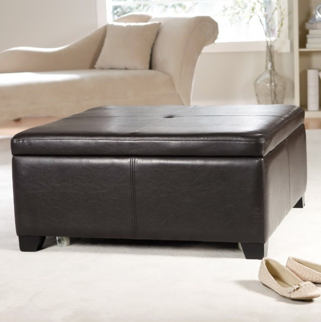 Black Storage Ottoman Coffee Table