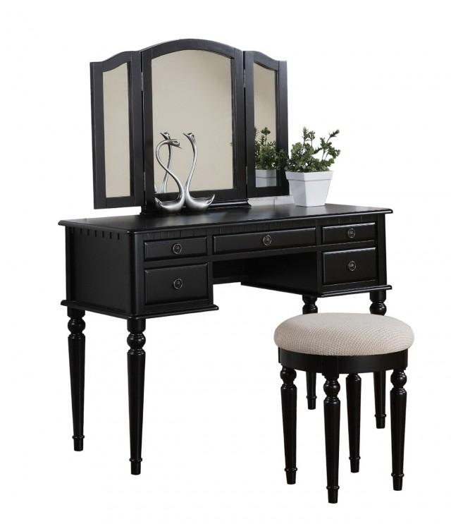 Black Vanity Desk With Mirror