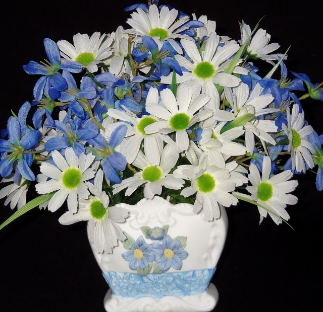 Blue And White Vase With Flowers