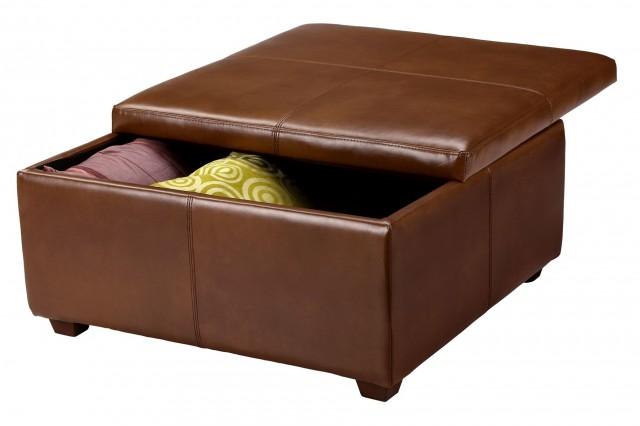 Brown Leather Storage Ottoman Square