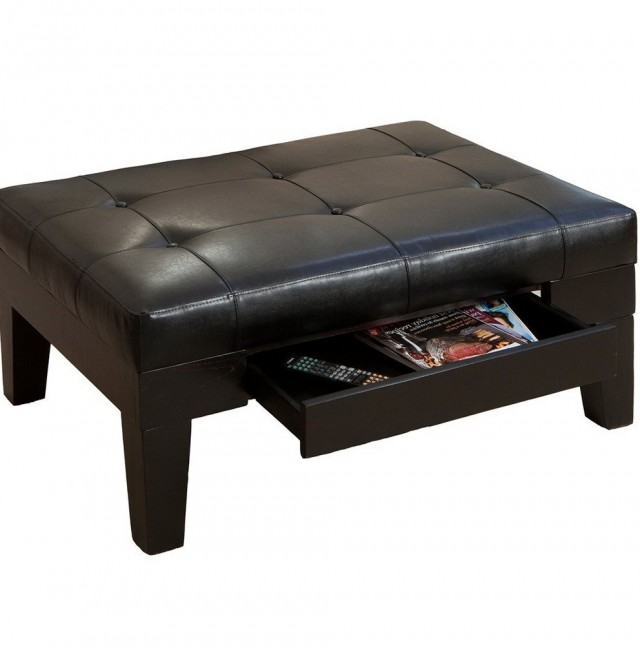 Dark Brown Leather Storage Ottoman