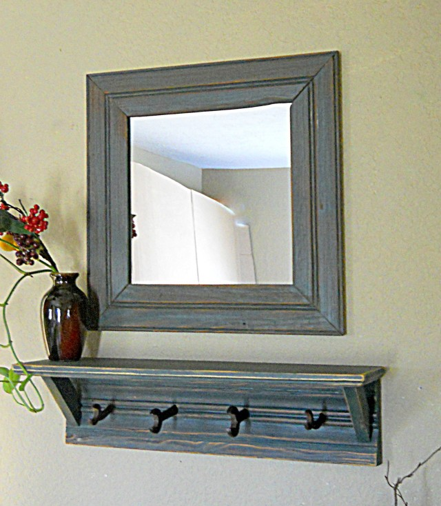 Entryway Mirror With Hooks And Shelf