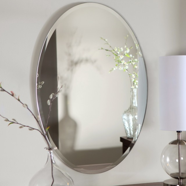 Frameless Oval Bathroom Mirrors