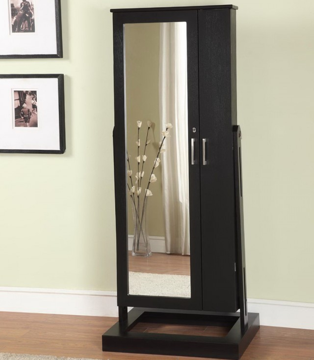 Free Standing Mirrored Jewelry Armoire