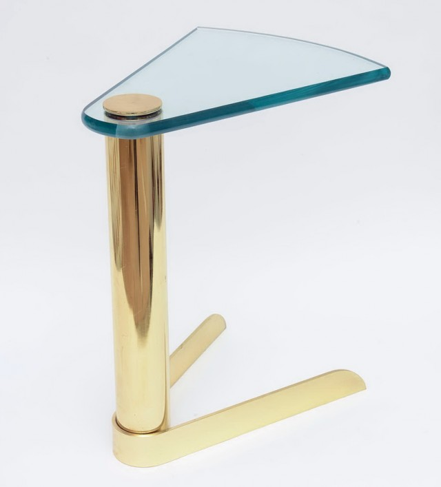 Glass And Brass Side Tables