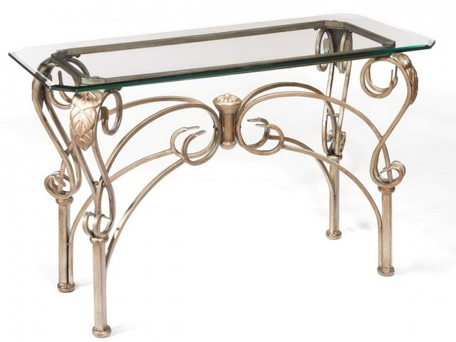 Glass And Iron Console Table