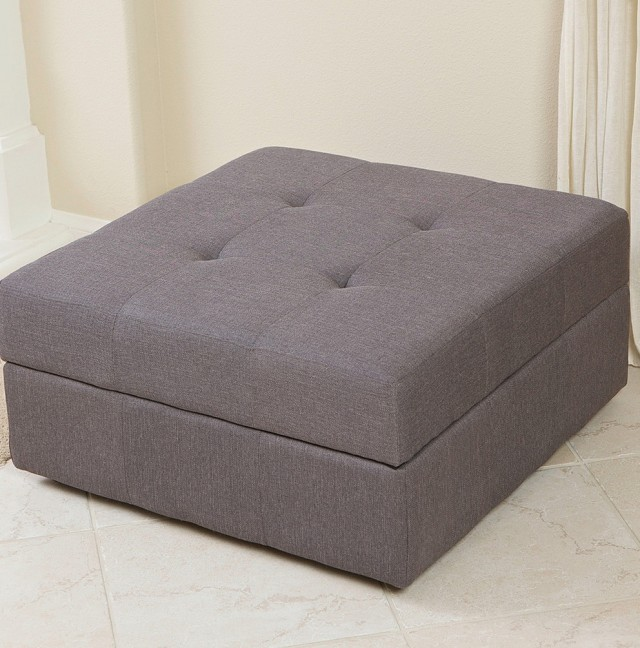 Grey Fabric Storage Ottoman