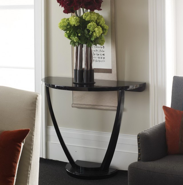 Half Moon Console Table Black