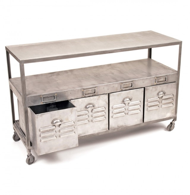 Industrial Console Table With Drawers