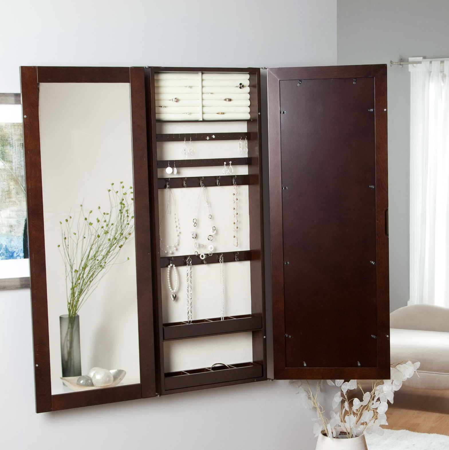 Jewelry Mirror Armoire Wall Mount