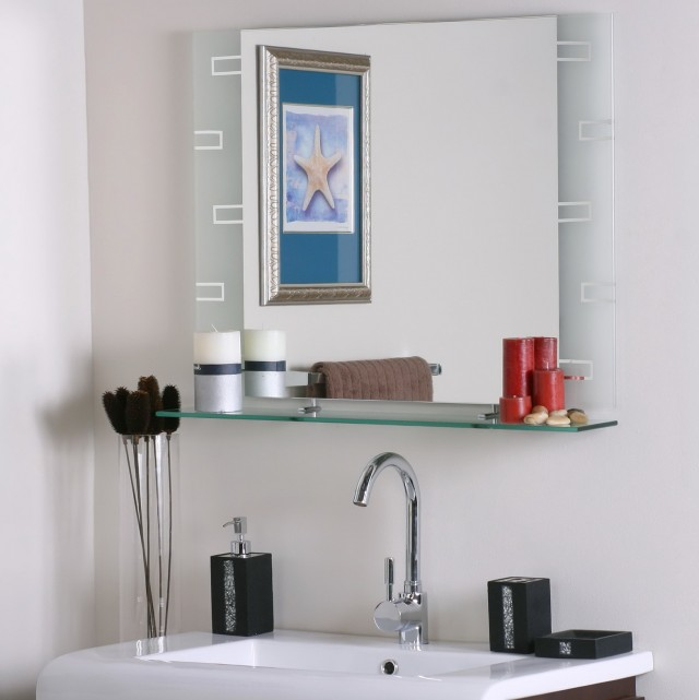 Large Bathroom Mirror With Shelf