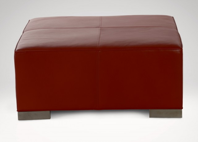 Large Leather Cocktail Ottoman