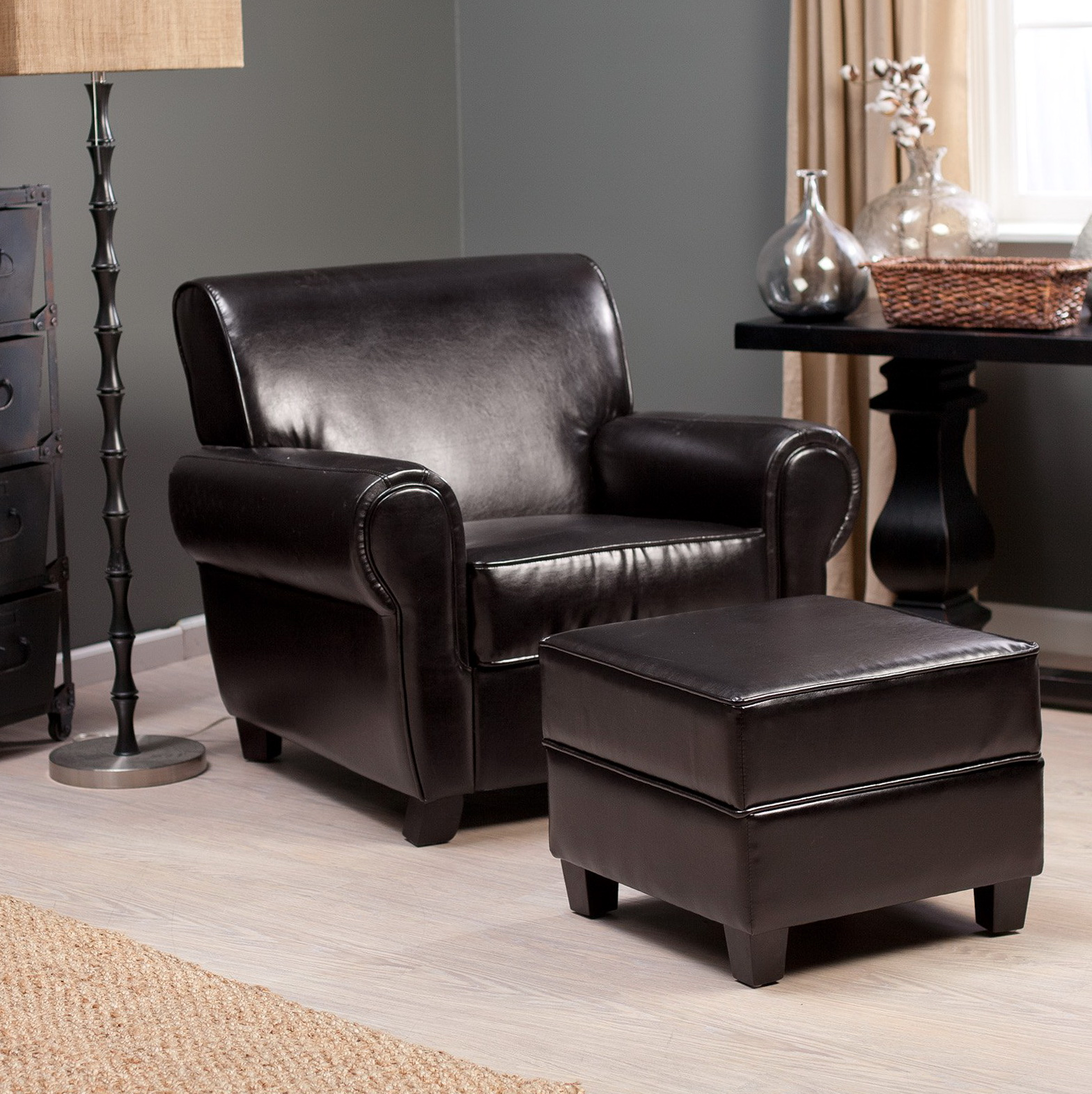 Leather Armchair With Ottoman