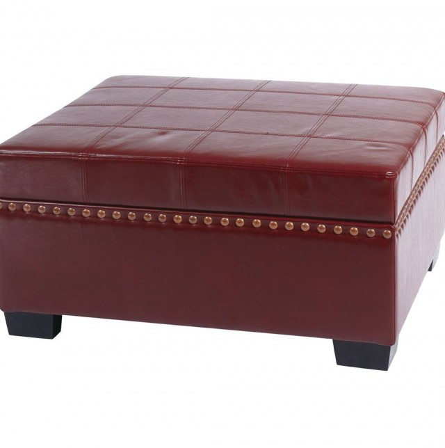 Leather Ottoman With Storage And Tray