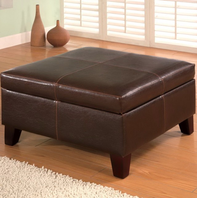 Leather Storage Ottoman Square