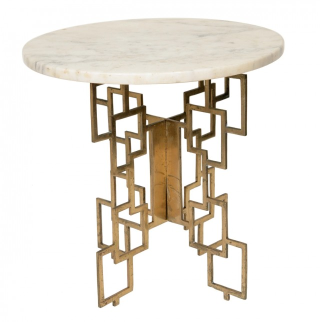 Marble And Brass Side Table
