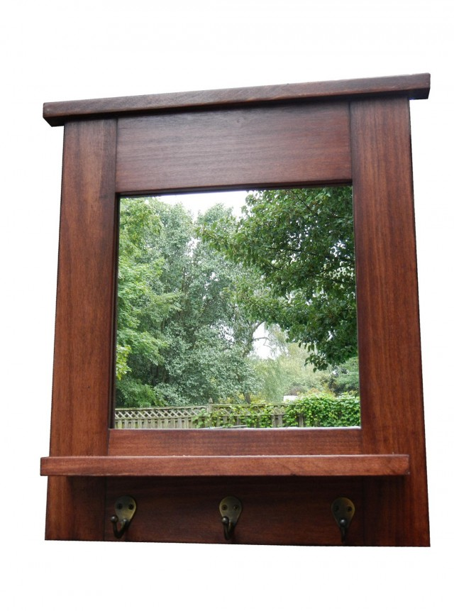 Mirror With Hooks And Shelf