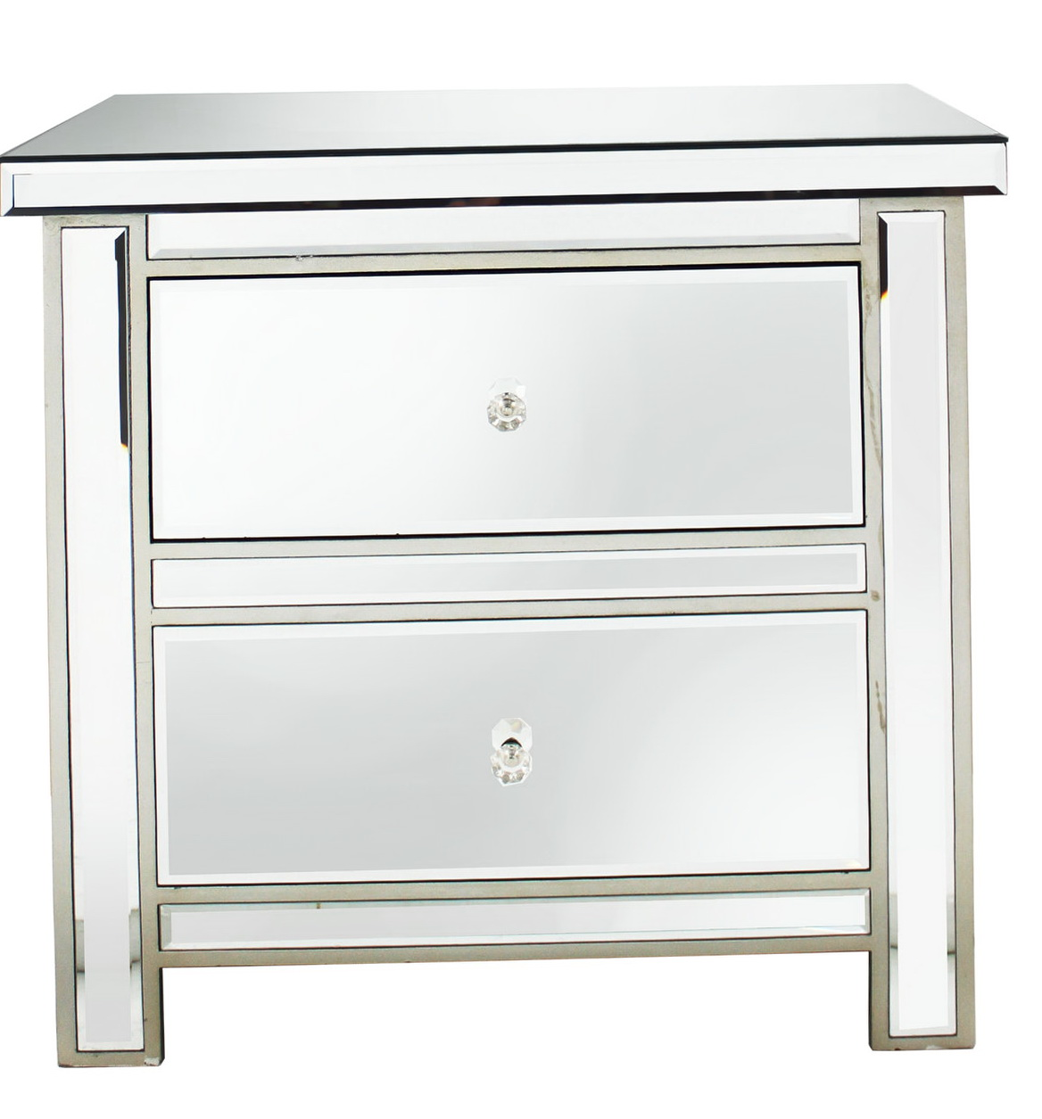 Mirrored Bedside Table With Drawers