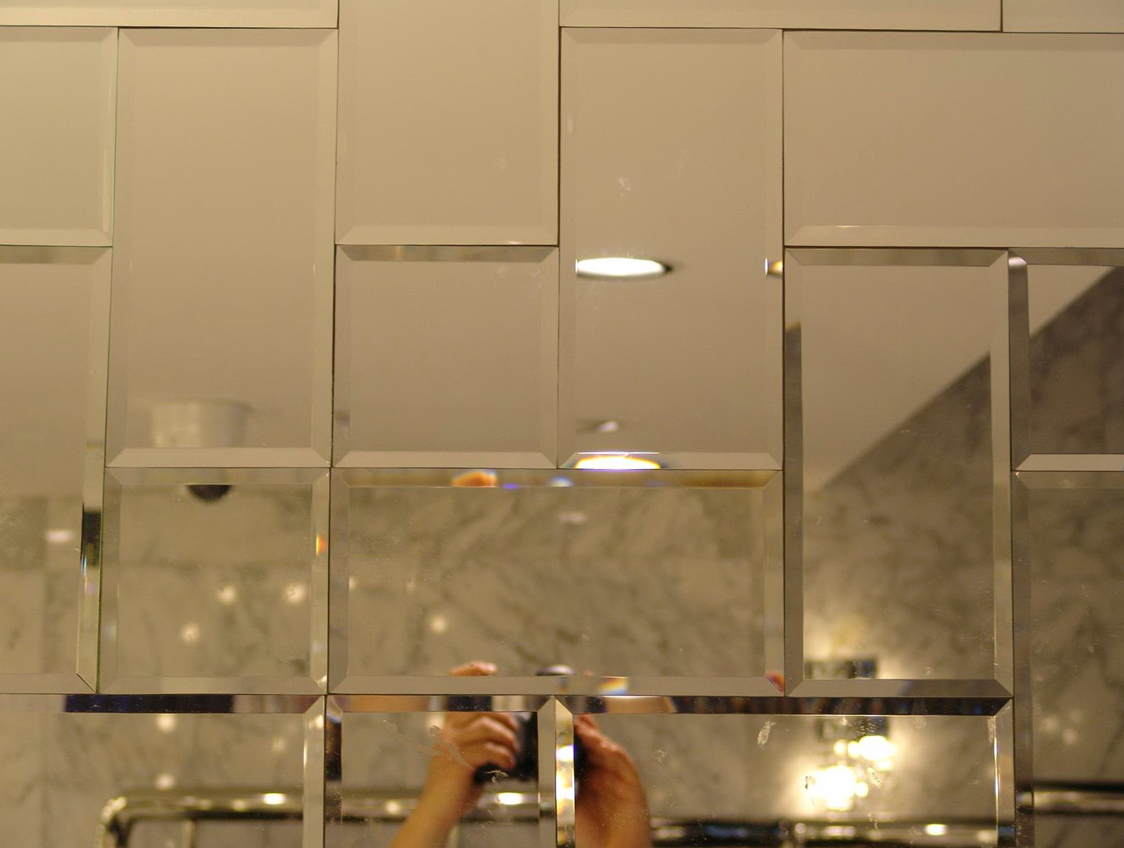 Mirrored Subway Tiles Bathroom