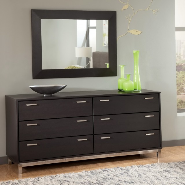 Modern Black Dresser With Mirror