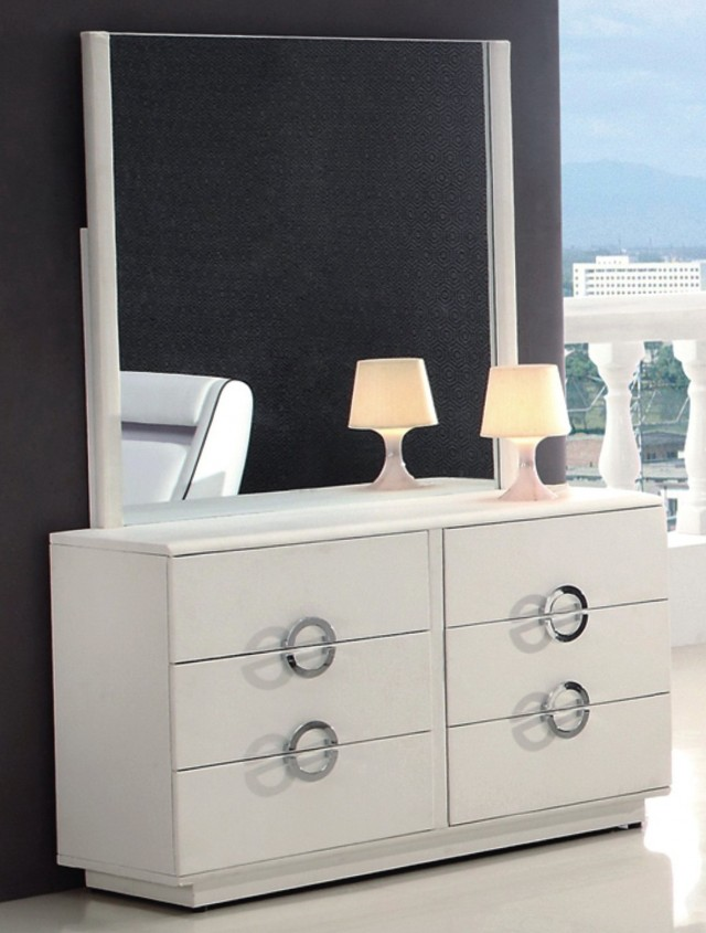 Modern White Dresser With Mirror