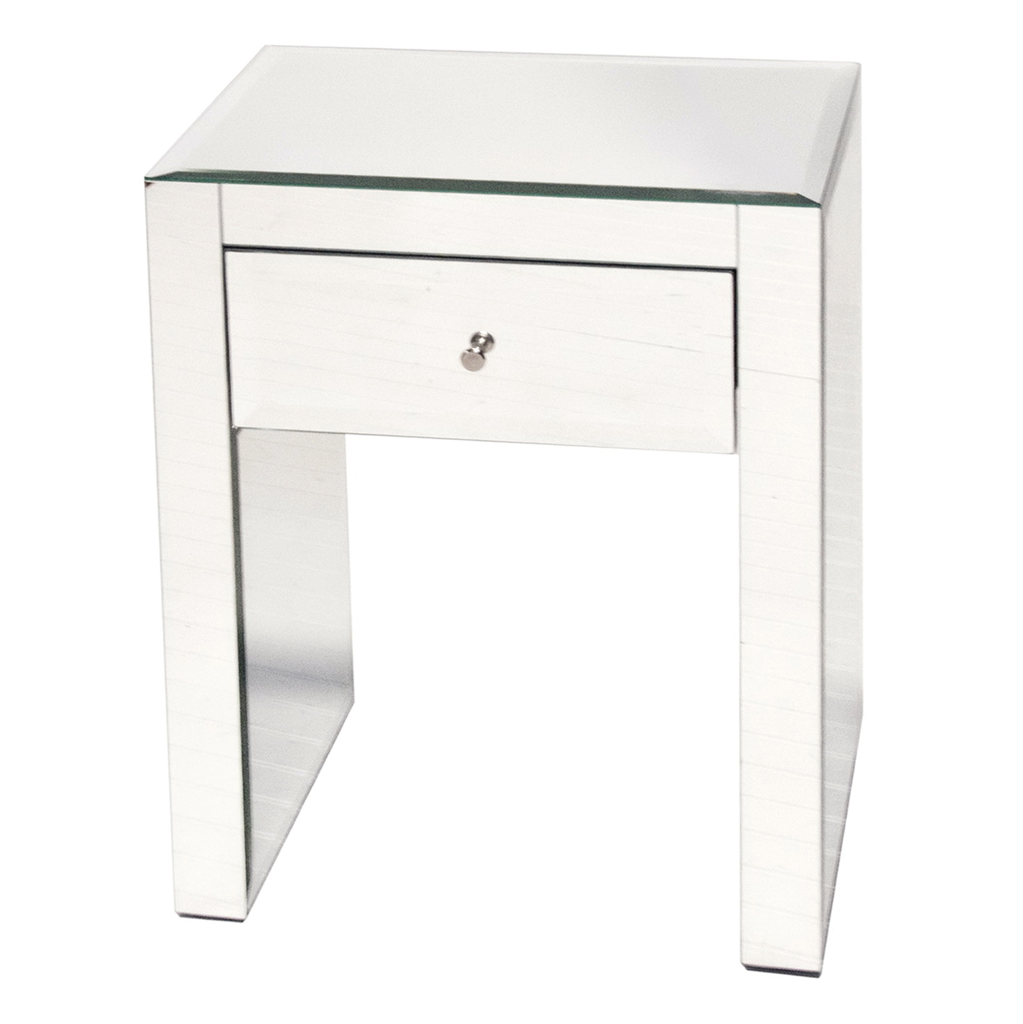 Narrow Mirrored Bedside Table