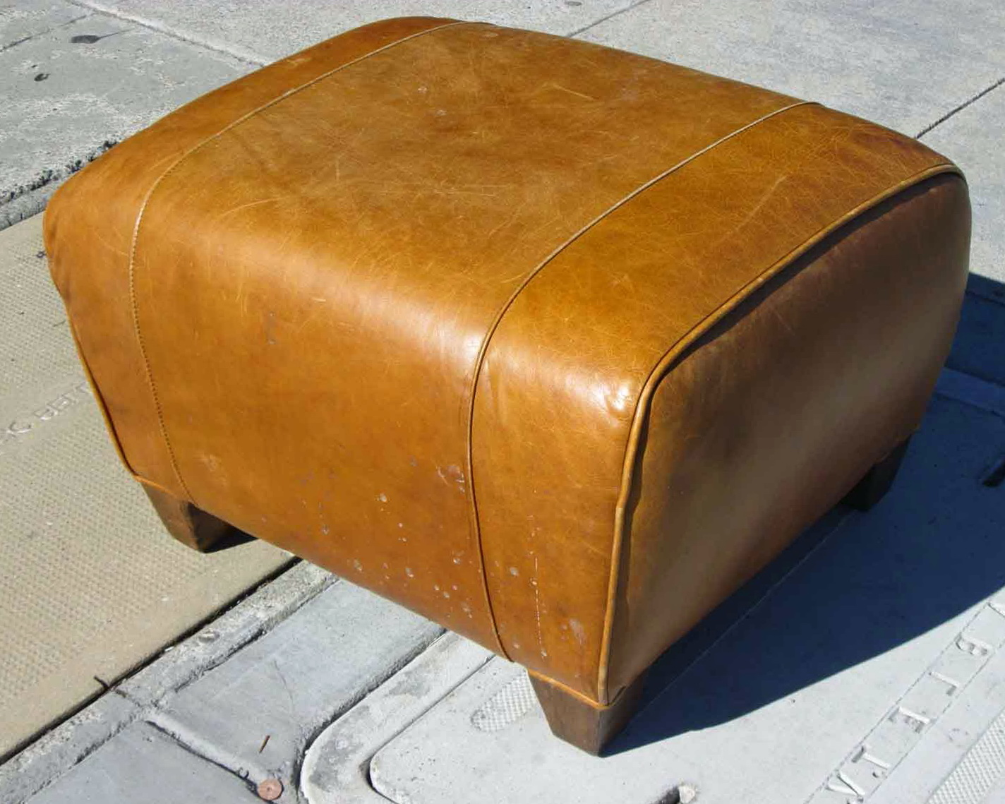 Pottery Barn Ottoman Leather