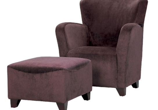 Purple Accent Chair With Ottoman