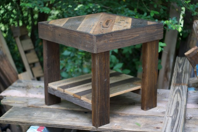 Reclaimed Wood Side Table Etsy
