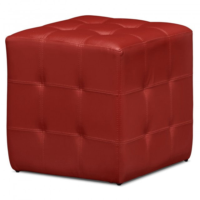 Red Leather Ottoman Cube