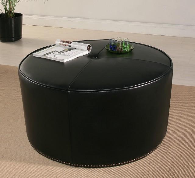 Round Black Leather Ottoman